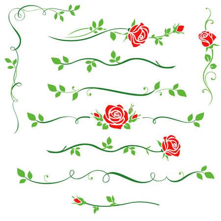 Red rose silhouette with green leaf. Floral dividers, design elements for page decor Ilustração