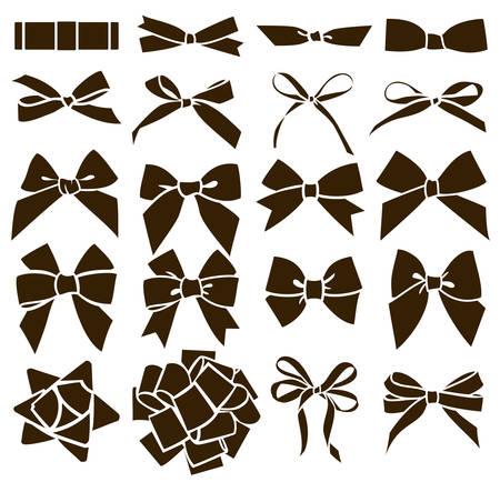 Big set of different black bow silhouette. Ilustração