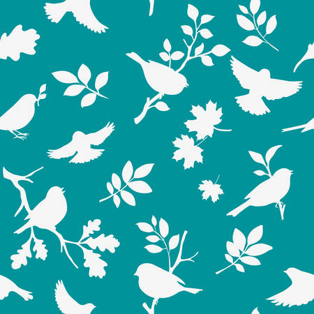 Spring background with birds and leaves silhouette