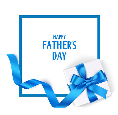 Father's Day template with gift box and blue bow Imagens - 83168150