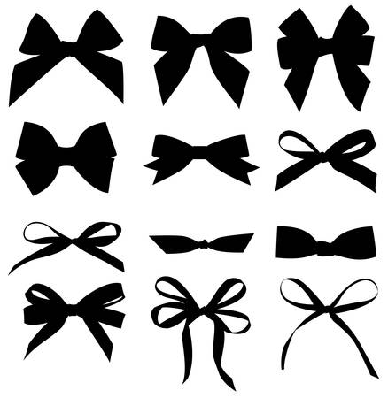 Vector set of different black bow silhouette.