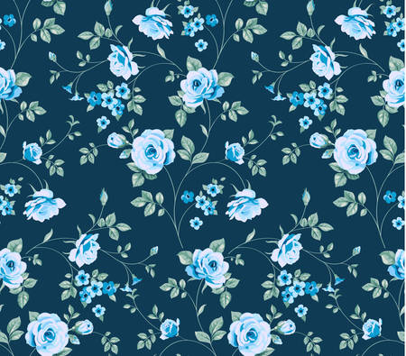 Vector seamless background with blue flowers and leaves