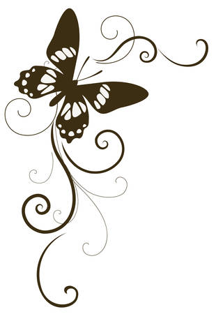 Vector element with butterfly for page decor
