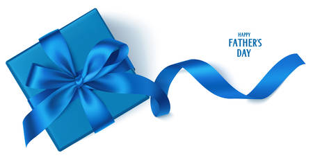 Holiday background with blue gift box isolated on white