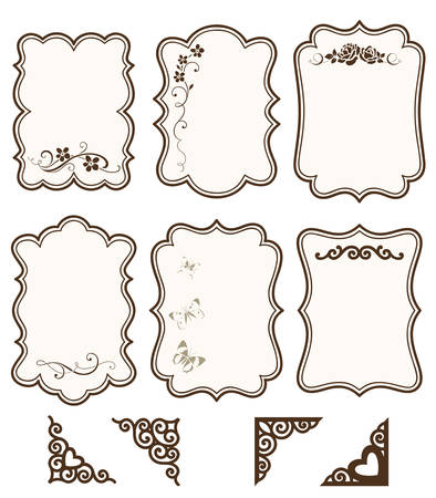 Vintage labels, tags and frames with calligraphic floral patterns and ornamental photo corners. 向量圖像