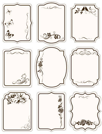 Tags with floral silhouttes and calligraphic elements