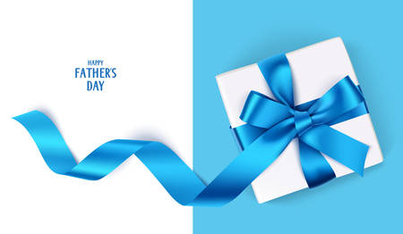Fathers Day template with gift box and blue bow