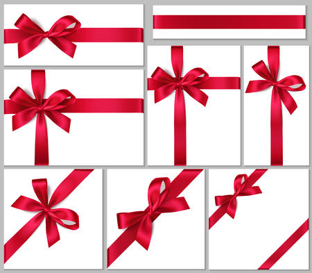 Red bow with different ribbons. Vector template