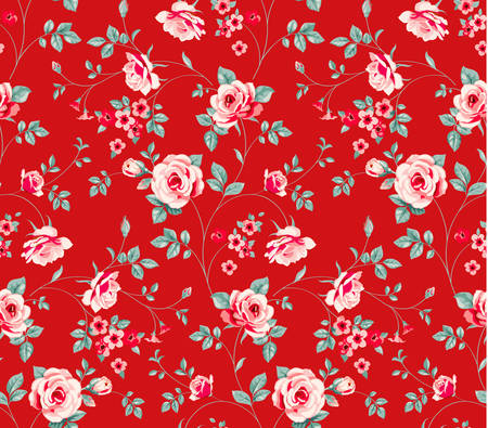 Floral wallpaper with blooming roses. Vector illustration