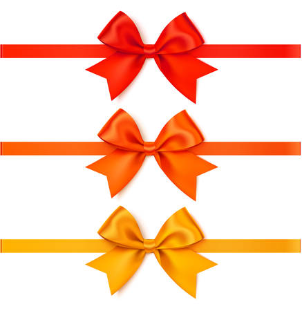 Vector orange, red and yellow bow with orange, red and yellow ribbon. 向量圖像