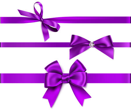 Vector collection of purple bow with ribbon