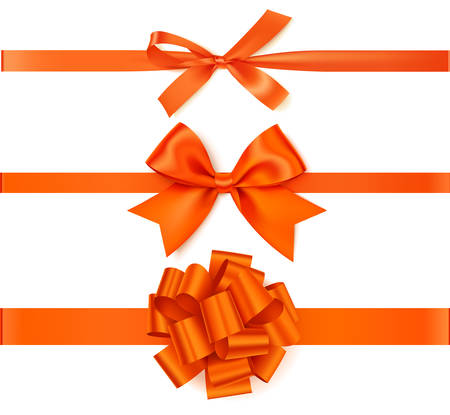 Vector orange bow with ribbon isoltaed on white background