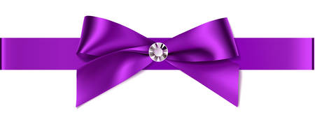 Beautiful purple bow with diamond for invitation design or wedding decoration. 向量圖像