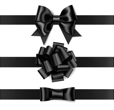 Vector decorative bow isolated on white. Black Friday sale decorations.