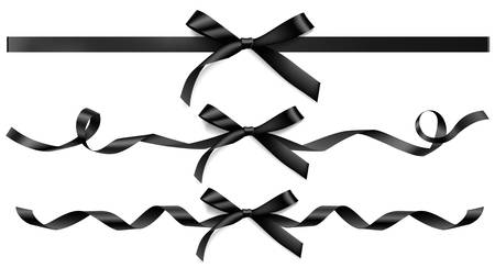 Collection of black bows and ribbons for your design. 向量圖像