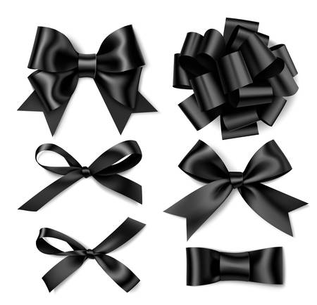Vector collection of realistic black bows. Holiday decorations 向量圖像