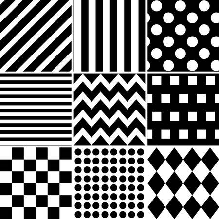 Vector collection of black and white pattern