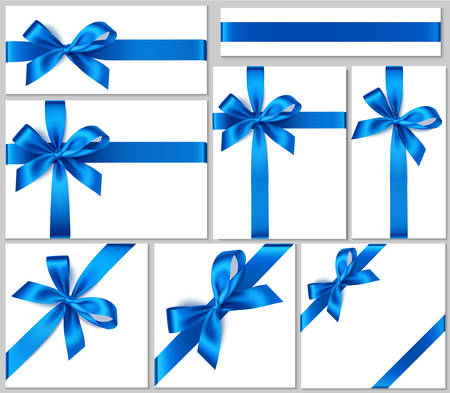Vector collection of blue bows and ribbons for your design