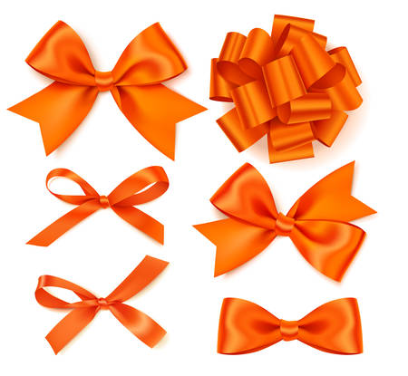 Vector collection of beautiful orange bows.