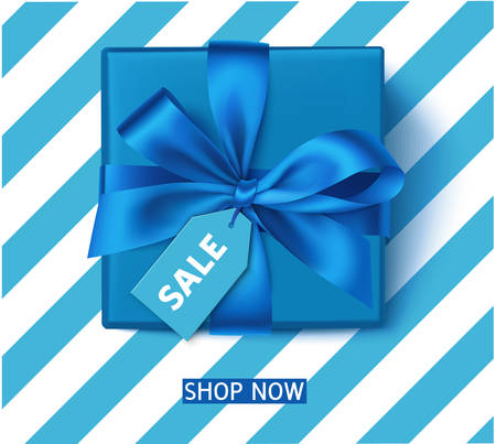 Season sale template with blue gift box and tag 向量圖像