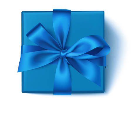 Realistic blue square gift box with blue ribbon and bow isolated on white. Winter Christmas decoration. Vector