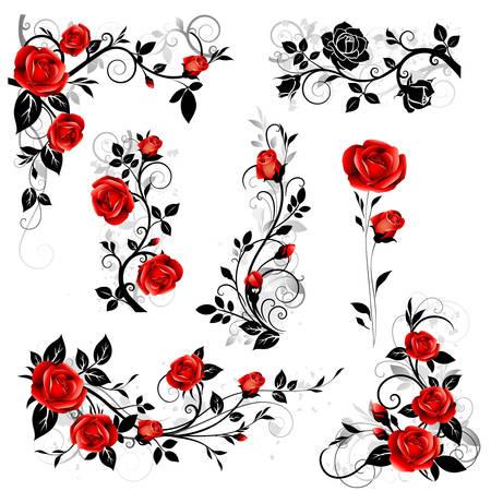 Kolekcja elementów ramy kwiatowy. Ilustracji wektorowych