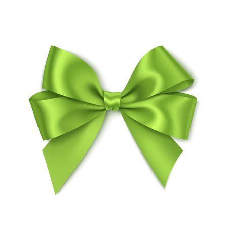 Decorative green bow for your design on white