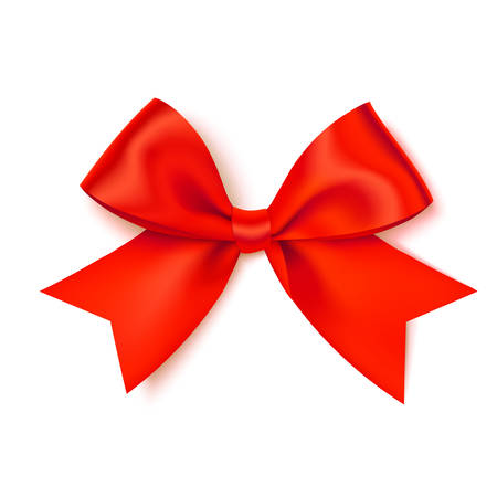 Decorative red bow for your design on white 向量圖像