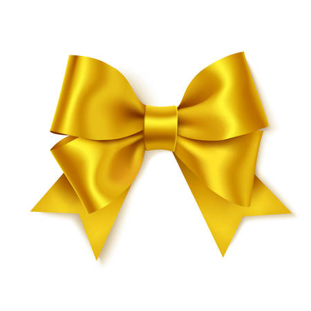 Decorative gold bow for your design on white