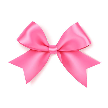 Decorative pink bow for your design on white