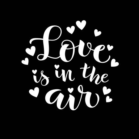 Love is in the air. Vector holiday decoration. White on black 向量圖像