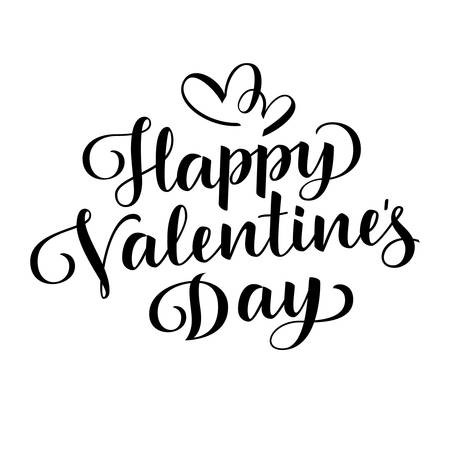 Happy Valentine's Day greeting text. Vector illustration
