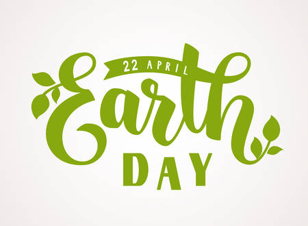 Earth Day. 22 april. Vector hand lettering text