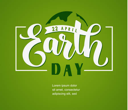 Earth Day 22 april. Vector hand lettering on green 向量圖像