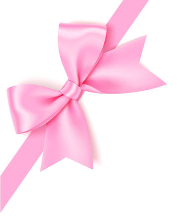 Vector pink bow isolated on white background