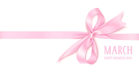 Number eight with pink bow and horizontal ribbon isolated on white background. Vector illustration