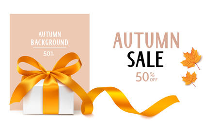 Autumn Sale template design. Vector background with gift box and yellow maple leaves 向量圖像