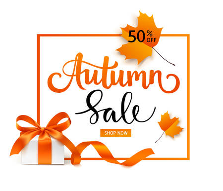 Vector Autumn Sale flyer or banner design with red leaves 向量圖像