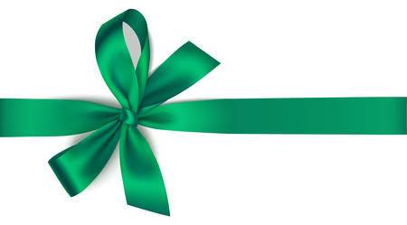 Holiday decoration isolated on white background. Vector illustration. Green bow with green ribbon