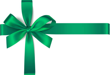 Decorative green bow for present design. Christmas decoration. Vector illustration