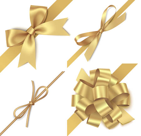 Set of platinum bow with diagonally ribbon for page decor. Christmas holiday decorations.