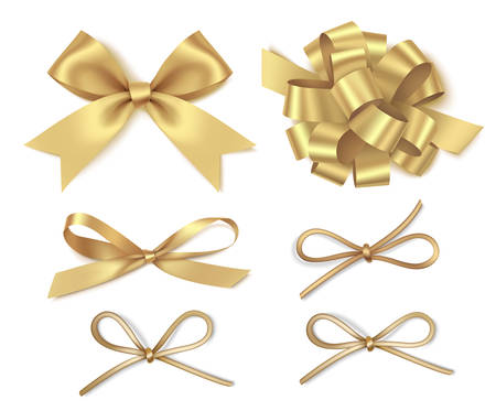Set of platinum bow for page decor. Christmas holiday decorations. Çizim