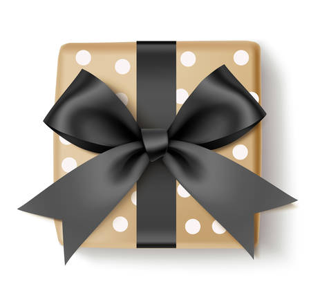 Beautiful square gift box with black bow and ribbon. Christmas decoration