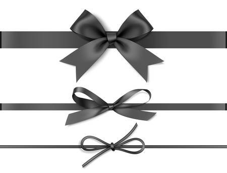 Different black bows with horizontal ribbons. Holiday decoration for black friday sale design