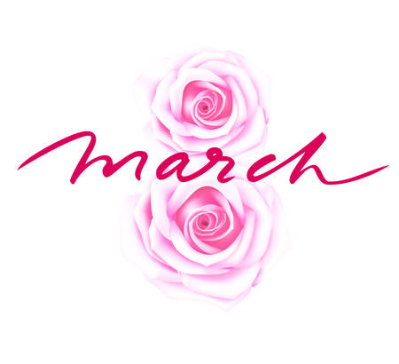 Happy Women's Day 8 march. Abstract floral eight with lettering