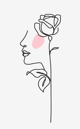 One line drawing. Abstract beautiful girl with rose. Female beauty minimalist icon. Vector stock illustration.