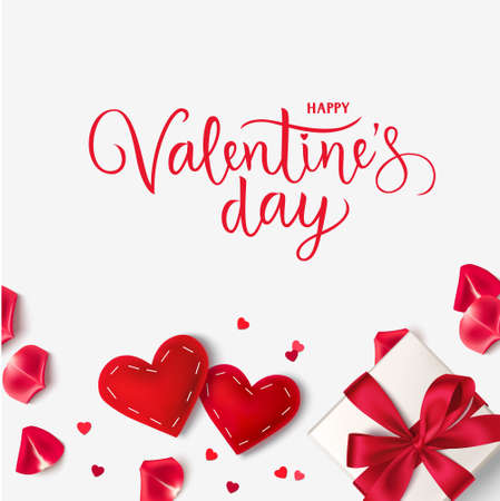 Happy Valentine's Day. Vector lettering. Holiday greeting text. Valentines Day background with red gift box, hearts and red rose petals. 版權商用圖片 - 163660099