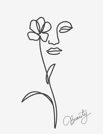 One line drawing. Abstract beautiful girl with flower. Female beauty icon. Vector illustration.