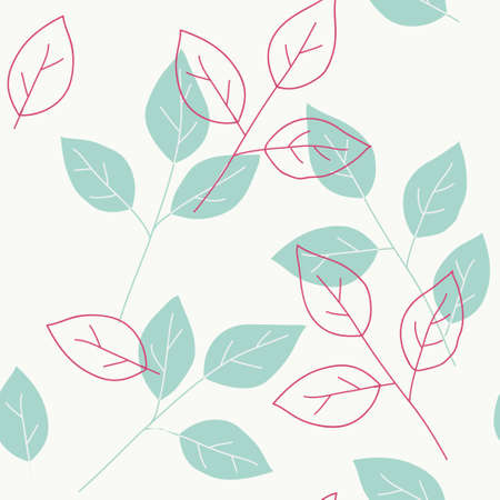 Seamless pattern with decorative blue twigs and leaf silhouette. Vector stock illustration. 版權商用圖片 - 163660103