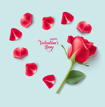 Valentines day design templates. Blue background with red rose and heart shape of petals. Happy Valentines Day calligraphic lettering text. Vector illustration 版權商用圖片 - 163492271